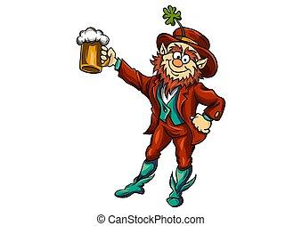 gnome raising a mug of beer illustration