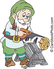 Elderly gnome sawing wood, using hand saw