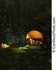 Gnome Toadstool House in the Forest at Night