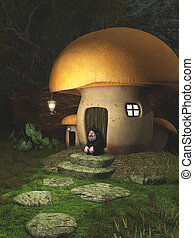 Gnome Toadstool House in the Forest