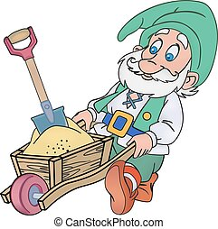 Gnome with a trolley - Elderly gnome rolls trolley with a...