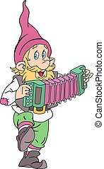 Gnome with accordion - Funny gnome musician with accordion...