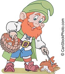 Gnome with basket - Happy gnome with a basket gathering...
