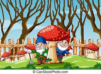Gnome with mushroom in the garden cartoon style garden scene