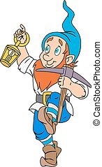 Gnome with pickaxe and lantern - Illustration of funny gnome...