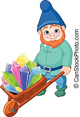Illustration of gnome carries a wheelbarrow full of quartz crystals