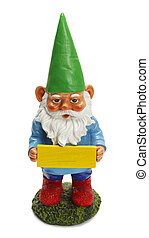 Gnome With Sign - Garden Gnome Holding Blank Sign Isolated...