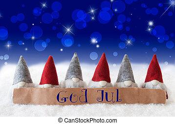 gnomer, blå, bokeh, stjerner, gud, jul, betyder, glædelig...