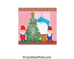 gnomes and Christmas tree