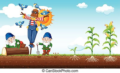 Gnomes and scarecrow cartoon style with corn farm and sky background