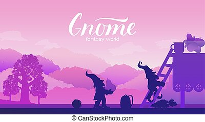 Gnomes are trying to steal fruit from the table. Fantasy character on magical world concept. Landscape nature vector illustration. Fairy tale fantastic dwarf elf character poses