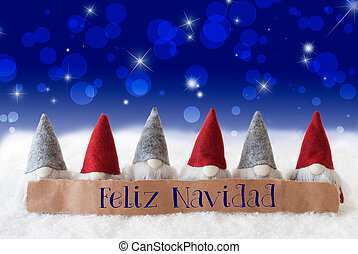 Gnomes, Blue Bokeh, Stars, Feliz Navidad Means Merry Christmas