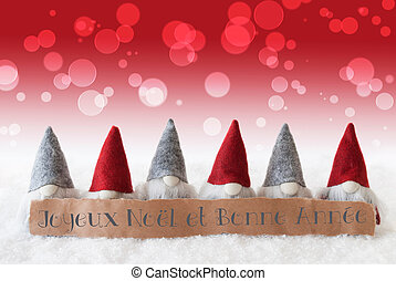gnomes red background bokeh bonne annee means new year