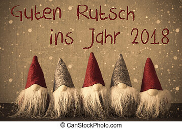 Gnomes, Snowflakes, Guten Rutsch 2018 Means Happy New Year -...