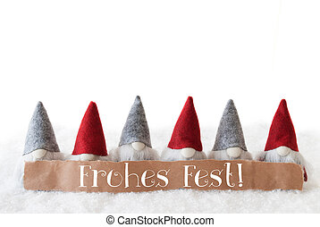 Gnomes, White Background, Frohes Fest Means Merry Christmas