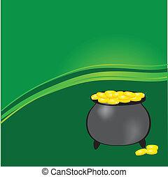 gnomi, oro, trifogli, vaso, fortunato, vettore, nero