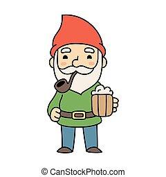 gnomo, cartone animato, birra, carino