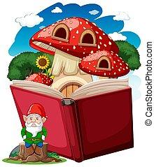 gnomo, casa, estilo, arriba, caricatura, blanco, hongo, plano de fondo, taponazo, libro
