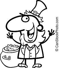 gnomo, felice, libro colorante, cartone animato