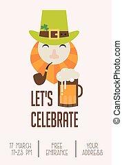 gnomo, invito, celebration., pub, cartone animato, st., patricks, beer., giorno, irlandese, carino