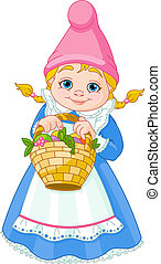 gnomo, jardín, cesta