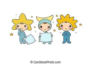 gnomo, lua, sol, star., trajes, meninos