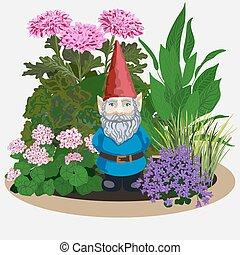 gnomo, plants., jardín