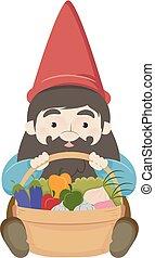 gnomo, verdura, cesto, illustrazione