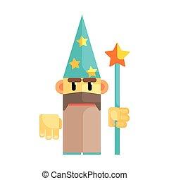 gnomo, wizard, em, chapéu azul, com, estrelas, e, pessoal, em, seu, hands., conto fada, fantástico, mágico, coloridos, personagem