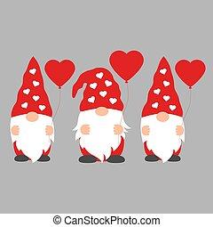 gnomy, valentine, komplet, szary, rysunek, tło, odizolowany