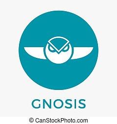 gnosis, (gno), monnaie, vecteur, logo, cripto