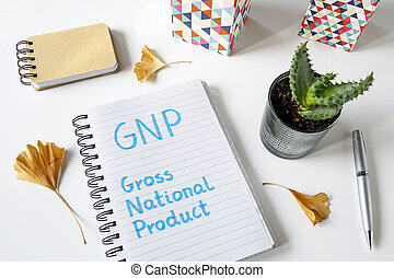 GNP Gross National Product written in a notebook