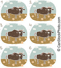 Gnu Visual Game for children. Illustration is in eps8 vector...