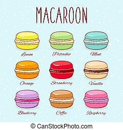 goûter, différent, ensemble, macarons