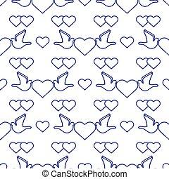 gołębica, poślubny dzień, serce modelują, wektor, valentine