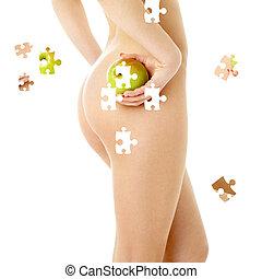 goła kobieta, zielone jabłko