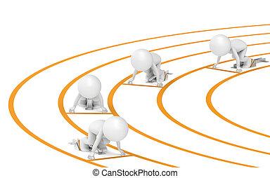 Go - 3D little human x4 The Athletes. Start Block. People...
