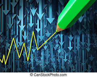 Go against the current and contrarian investing business concept as a group of three dimensional arrowsgoing in a down direction contrasted by a pencil crayon drawing an upward investment chart as an icon of individualism.