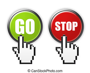go and stop buttons with hand cursor