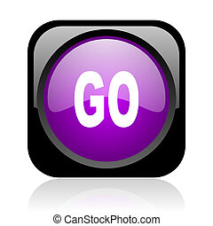 go black and violet square web glossy icon