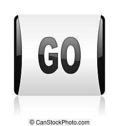 go black and white square web glossy icon