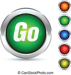 Go button. - Go detailed button. Vector illustration.