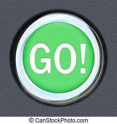 Go Car Start Green Button Word Move Forward