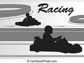 Go cart driver race track landscape background illustration