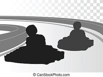 Go cart driver race track landscape background