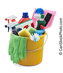 go cleaning - variety of cleaning products in a bucket