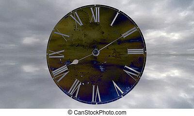 go., défaillance, voler, montre, clock., rapidement, jeûne, temps, clouds.