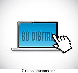 go digital computer and cursor illustration design