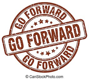 go forward brown grunge stamp