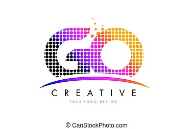 GO G O Letter Logo Design with Magenta Dots and Swoosh - GO...